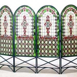 Classical Quatrefoil Tiffany Stained Glass Room Divider
