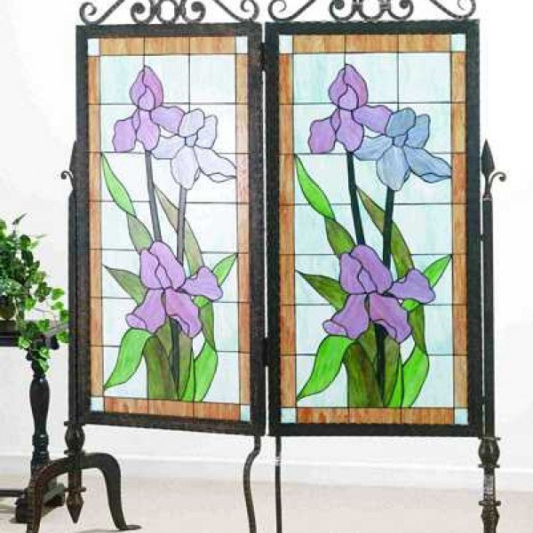 Pastel Iris Tiffany Stained Glass Room Divider