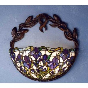Purple Iris Tiffany Stained Glass Sconce Light