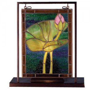Water Lily Tiffany Stained Glass Tabletop Window