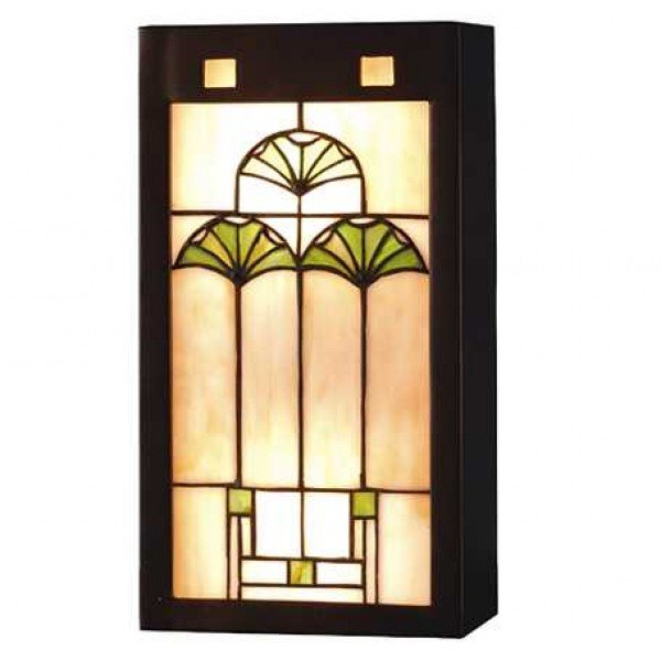 Arts Craft Ginkgo Tiffany Stained Glass Sconce