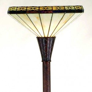 Crestwood Tiffany Stained Glass Torchiere