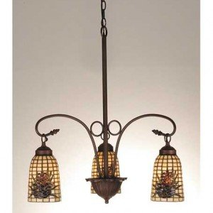 Arts Craft Pinecone Tiffany Stained Glass Chandelier