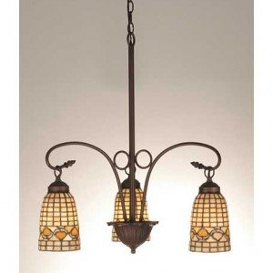 Ivory Acorn Tiffany Stained Glass Chandelier Light