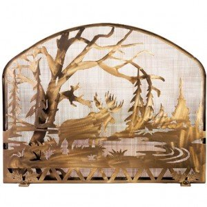 Moose Lake Tiffany Stained Glass Fireplace Screens