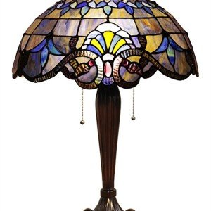 Blue Victorian Tiffany Stained Glass Table Lamp