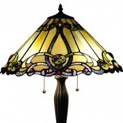 Amber Victorian Tiffany Stained Glass Table Lamp