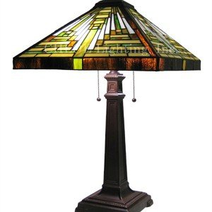 Beige Mission Tiffany Stained Glass Table Lamp
