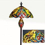 Colorful Victorian Tiffany Stained Glass Floor Lamp