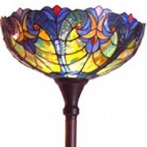 Victorian Torchiere Tiffany Stained Glass Floor Lamp