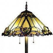 Victorian Amber Tiffany Stained Glass Floor Lamp