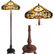Vintage Victorian Tiffany Stained Glass Floor Lamp