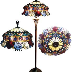 Vintage Roses Tiffany Stained Glass Floor Lamp