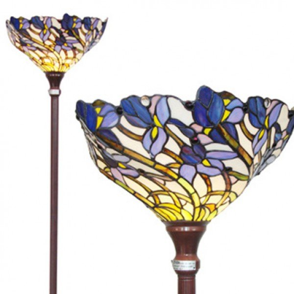 Purple Iris Tiffany Stained Glass Floor Lamp