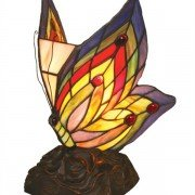 Jeweled Butterfly Tiffany Stained Glass Accent Lamp