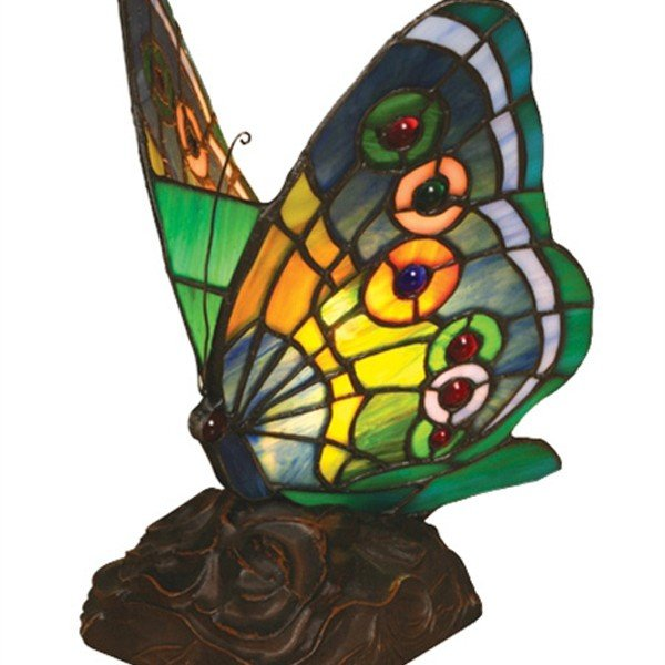 Green Butterfly Tiffany Stained Glass Accent Lamp
