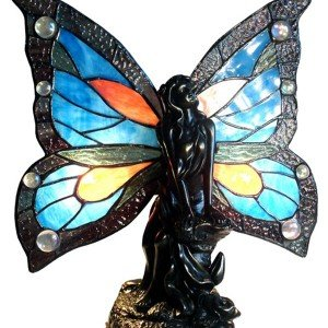 Fairy Blue Tiffany Stained Glass Accent Lamp