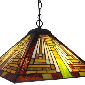 Mission Style Tiffany Stained Glass Pendant Lamp