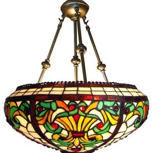Victorian Bowl Tiffany Stained Glass Pendant Lamp