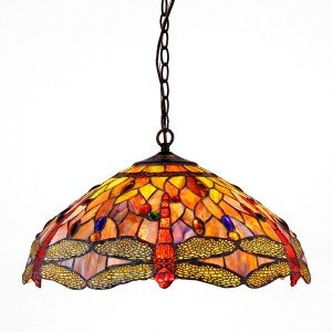 Anisoptera Purity Tiffany Stained Glass Pendant Lamp