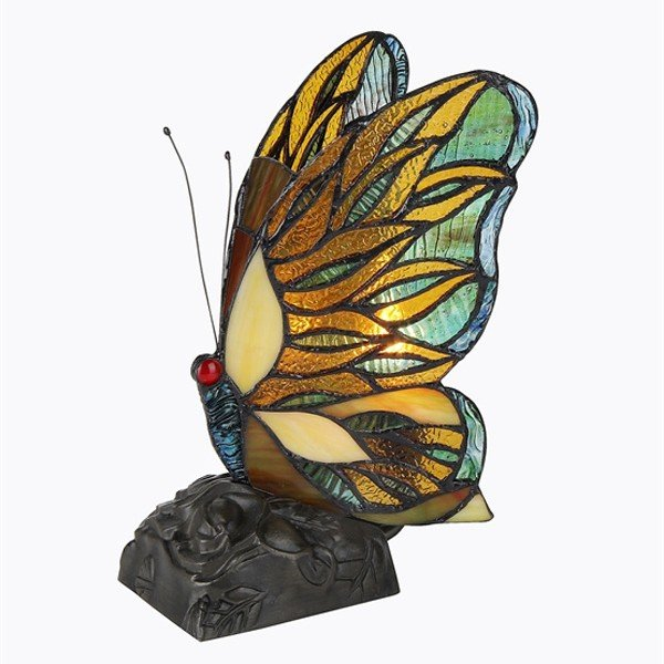 Jacy Butterfly Tiffany Stained Glass Accent Lamp
