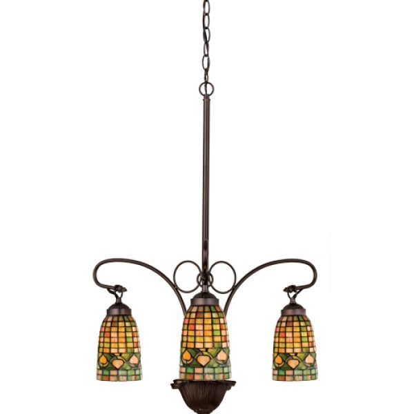 Acorn Colorful Geometrical Tiffany Stained Glass Chandelier