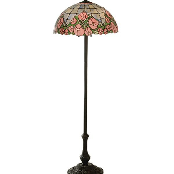 Cabbage Rose Tiffany Stained Glass Floor Lamp
