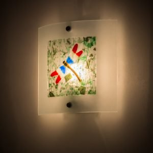 Drago Colorful Dragonfly Fused Glass Wall Sconce