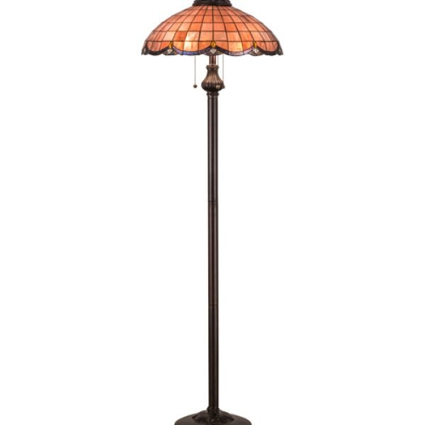 Elan Raspberry Tiffany Stained Glass Floor Lamp