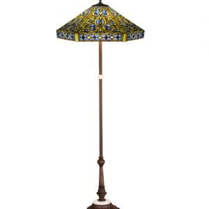 Elizabethan Blue Tiffany Stained Glass Floor Lamp