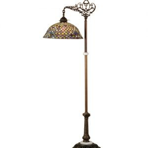 Fishscale Bridge Arm Stained Glass Floor Lamp