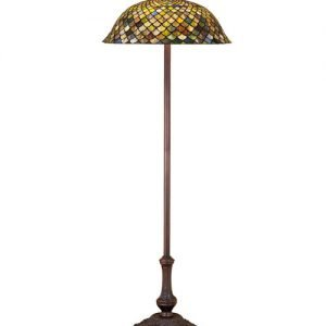 Fishscale Earth Tone Stained Glass Floor Lamp