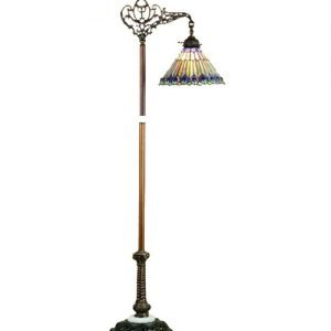 Jeweled Peacock Bridge Arm Tiffany Floor Lamp
