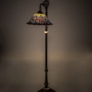 Peacock Feather Bridge Arm Tiffany Floor Lamp