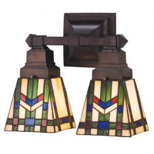 Prairie Wheat Geometrical Two Light Wall Sconce