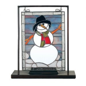 Snowman Stained Glass Lighted Mini Tabletop Window
