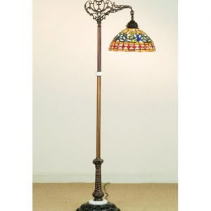 Tavern Bridge Arm Stained Glass Floor Lamp