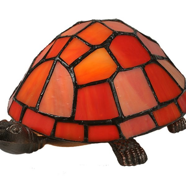 Turtle Orange Red Tiffany Stained Glass Lamp