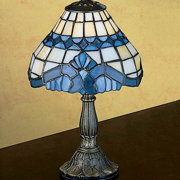 Baroque Blue Tiffany Stained Glass Mini Lamp