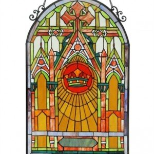 Mission Cross Tiffany Stained Glass Window Panel
