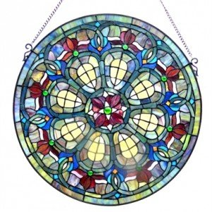 Teal Victorian Tiffany Stained Glass Window Panel