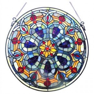 Blue Victorian Tiffany Stained Glass Window Panel