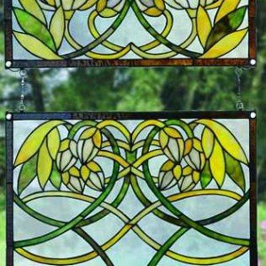 Water Lilly Tiffany Stained Glass Window Panel
