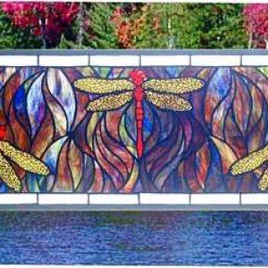Dragonfly Trio Tiffany Stained Glass Window Panel
