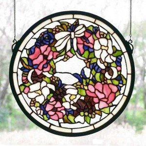 Flowered Wreath Tiffany Stained Glass Window Panel
