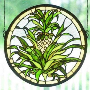 Welcome Pineapple Tiffany Stained Glass Window Panel