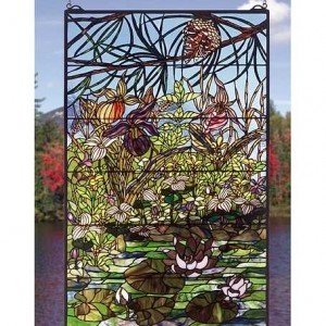 Woodland Lilypond Tiffany Stained Glass Window Panel