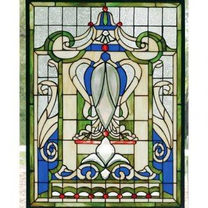 Blue Windsor Tiffany Stained Glass Window Panel