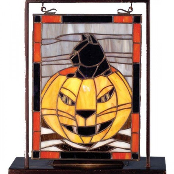 Pumpkin Kitty Tiffany Stained Glass Window Panel