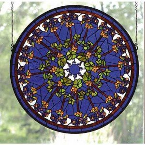 Violet Rosette Tiffany Stained Glass Window Panel